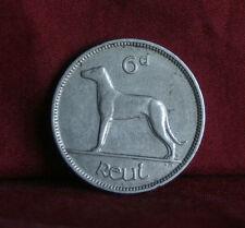 6 Pence Ireland 1935 Nickel World Coin Irish Harp Wolfhound Dog KM5 Eire six d