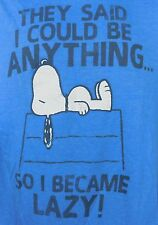Peanuts Snoopy Doghouse I Became Lazy Mens Graphic T-shirt Tee L Large Blue