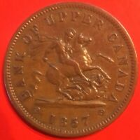 LOWER PRICE Bank of Upper Canada 1857 One Penny Token Very Nice AU FREE SHIPPING