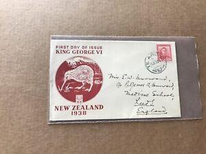 New Zealand 1938 FDC +SG#605 +KGVI 1d + Kiwi Mono-Color Cachet +Neat