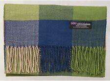 100% Cashmere Scarf Green Blue Tartan Flannel Check Plaid Scotland Wool R93