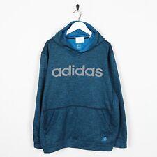 Vintage ADIDAS Big Logo Polyester Hoodie Sweatshirt Blue Large L