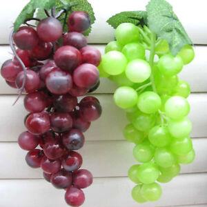Bunch Lifelike Artificial Grapes Plastic Fake Fruit Food Home Decor Decor DU