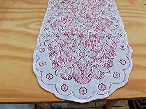 "Lace Table Runner Pink & White Regency t 36.5"" x 13.5"" Factory Error"