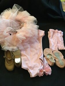 Girls Complete Ballet Set w/Slippers & Tap Shoes Size 8.5, Leotard Tutu, Bun Bow