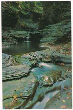 GLEN  CENTRAL CASCADE Watkins Glen State Park NY Postcard Finger Lakes 1982
