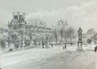 VUE DE PARIS. AQUARELLE SUR PAPIER. SIGNÉ A. GUERIN. VERS 1940.
