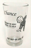 Hasbro Monopoly Glass Cup Chance Get Out Of Jail Free Tumbler 16 oz