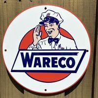 """VINTAGE WARECO PORCELAIN SIGN MOTOR OIL USA GAS SERVICE STATION PUMP PLATE 12"""""""