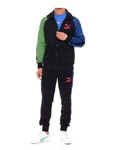 New PUMA Dazed T7 Iconic Logo track Jacket + Matching Pants Tracksuits Black
