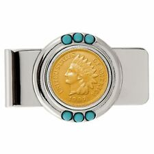 NEW Smithsonian Institution Gold-Layered Indian Penny Turquoise Coin Money Clip