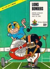 Vintage CFL Program Winnipeg Blue Bombers at B.C. Lions Aug. 16 /65 Kapp & Ploen