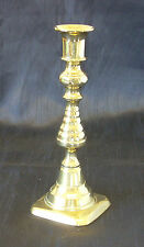 """VICTORIAN BRASS CANDLESTICK - RIBBED BALUSTER """"BEEHIVE"""" COLUMN ON A SQUARE BASE"""