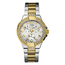 New GUESS Women Silver-gold-tone Stainless Steel Watch U14007L1 NWT & Box
