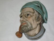 RARE VINTAGE LEFTON FIGURINE WALL PLAQUE PIRATE PIPE MARKED