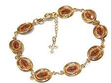 Virgen de Guadalupe Medal Bracelet 18K Gold Plated Adjustable Bracelet