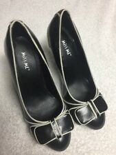 Miss Me Women's Black White Striped High Heels Dress Shoes Size Sz 7.5 7 1/2 M a