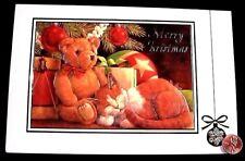 Vintage Kitten Cat Teddy Bear Drum Tree Embossed Christmas Greeting Card - New