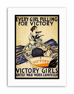 VICTORY GIRLS WAR WORK CAMPAIGN PULLING BOAT ROWING NEW Poster Picture Vintage