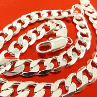 NECKLACE CHAIN GENUINE REAL 925 STERLING SILVER S/F SOLID MEN'S CURB CUBAN LINK