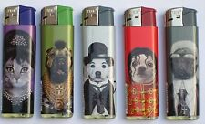 5 x PETS ROCK Soft Flame Refillable & Electronic Ignition Cigarette Lighter Dogs