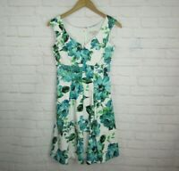 Cato Women's size 4 Green Blue White Floral A-Line Sleeveless Sun Dress