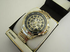 "NEW MEN""S ELGIN AUTOMATIC MECHANICAL SILVER SKELETON FACE WATCH FG/9040"