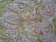 Pink Green White Quilted Pillow Sham Paisley Buttons 1 Standard
