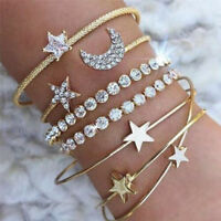 4PCS/Set Cuff Open Crystal Star Bangle Heart Bracelet Women Wristband Jewelry PQ