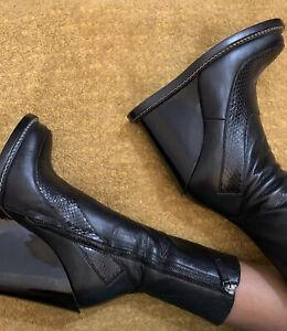 Jil Sander Frida Leather + Snakeskin Boots