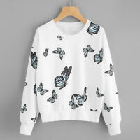Women Sweatshirt Butterfly Printing Long Sleeve Sweatshirt Pullover Tops Blouse