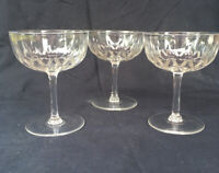 3 QUALITY VINTAGE CRYSTAL CHAMPAGNE COUPE CUT GLASS FRENCH BAR WINE WEDDING CUP