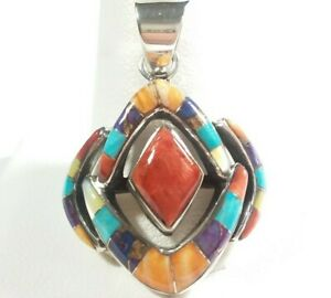 """925 STERLING SEGMENTED MODERN SPINY OYSTER TURQUOISE 1 7/16"""" x 1 1/16"""" PENDANT"""
