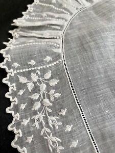 Antique French BRIDAL handkerchief LACE ruffle OMC mono c1900