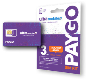 Ultra Mobile PayGo | $3/mo. Pay As You Go Plan + SIM Card with Talk, Text & Data