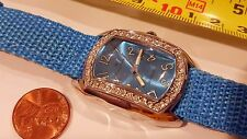 Louis Arden Quartz Rectangle watch Nylon Blue band Dial Crystals Girls Woman