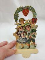 Antique Victorian Valentine's Day Card 3-D Die Cut Floral Girl Cherub Germany