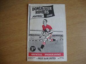 1956/7 Doncaster Rovers v West Ham United WHU - League Division 2