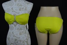 Bar III Womens Large Neon Yellow Strapless NEW Bikini Swimwear Bathing Suit