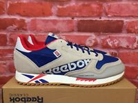 REEBOK MEN'S CLASSIC LEATHER RIPPLE ALTERED ROYAL/GREY/RED DV7141 COMFY SHOES