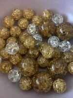 Vintage Marbles Lot 39 Vitro Amber Yellow Clear Crackle Glass Mint STUNNING RARE