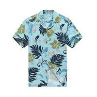 Made in Hawaii Men Aloha Shirt Luau Cruise Party Tropical Leaves Aqua Blue