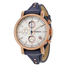 Fossil Boyfriend Silver Dial Blue Leather Chronograph Ladies Watch ES3838
