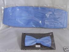 Light BLUE Polyester Bow Tie and Cummerbund Set> in 60 Colours>P&P 2UK>1st Class
