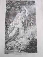 Gravure 1864 - Le sommeil de l'enfant d'après E. Hicks