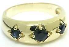 Trilogy Blue Sapphire 9ct Solid Gold Antique Style Ring - Sz N/7 - 30 Day Refund