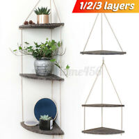 Wall Hanging Shelf Wood Rope Swing Corner Shelves Storage Holders Floating Rack