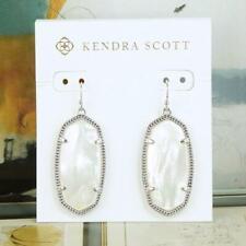NWOT Kendra Scott Elle Ivory Pearl Earrings Silver Tone