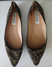 Steve Madden Damas Cuero Genuino Diamanté Tachonado Zapatos Planos UK Size 6 BB