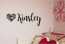 Zebra Heart & Girls Personalized Name Vinyl Wall Sticker lettering Wall Decor